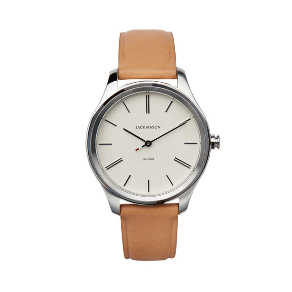 Jack Mason 38mm Women's Slim Watch With White Dial And Tan Strap - Aatlo Jewelry Gallery