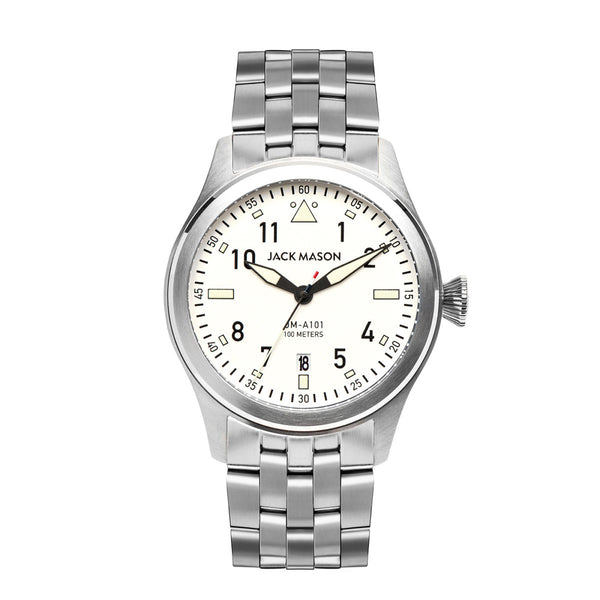 Jack Mason 42mm Aviator Watch White Dial With Stainless Steel Bracelet - Aatlo Jewelry Gallery