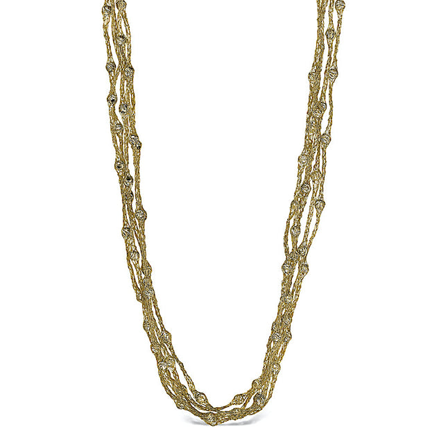 Peter Storm Julia Five Strand Woven Gold Diamond Cut Bead Necklace - Aatlo Jewelry Gallery