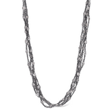 Peter Storm Julia Woven Black Sterling Silver and Clear Quartz Necklace - Aatlo Jewelry Gallery