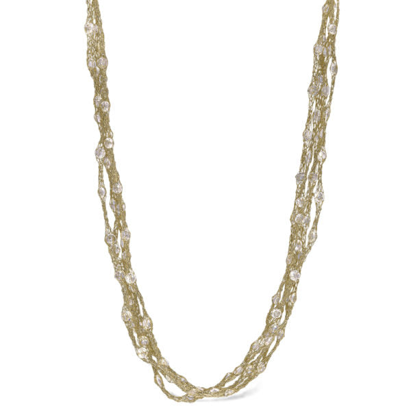 Peter Storm Julia Woven Gold and Clear Quartz Necklace - Aatlo Jewelry Gallery
