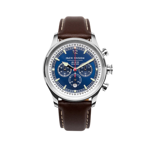 Jack Mason 42mm Nautical Chronograph Watch With Navy Dial And Leather Strap - Aatlo Jewelry Gallery