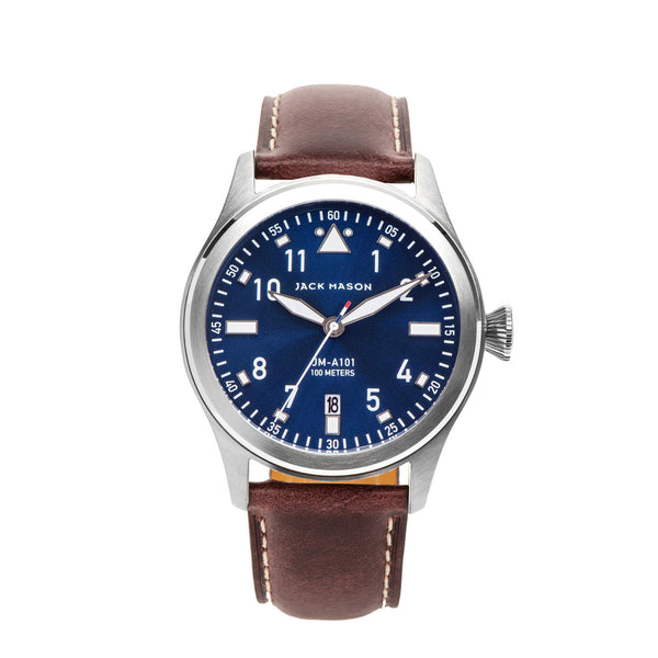 Jack Mason 42mm Aviator Watch With Navy Dial and Brown Leather Strap - Aatlo Jewelry Gallery