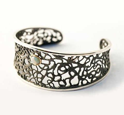 Lace And Opal Black Oxidized Sterling Silver Cuff