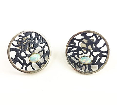 Lace And Opal Round Black Enamel Earrings - Aatlo Jewelry Gallery