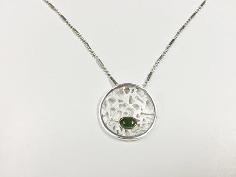 Lace And Opal White Enameled Pendant With Jade