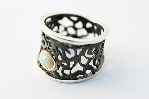 Lace And Opal Large Oxidized Sterling Silver Ring