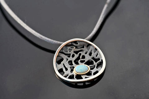 Lace And Opal Small Black Oxidized Sterling Silver Pendant
