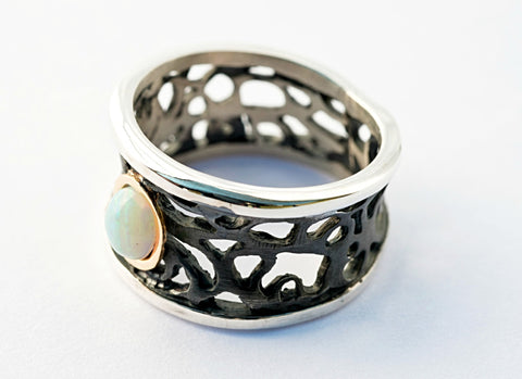 Lace & Opal Oxidized Sterling Silver Small Ring