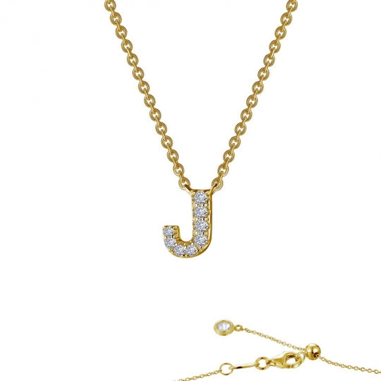 Lafonn Designer Lassaire Diamond Block Letter Initial Necklace - Aatlo Jewelry Gallery