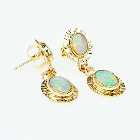 Michael Baksa Red Crystal and Semi-Black Opal 14K Gold Drop Earrings