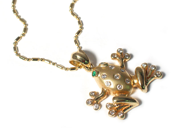Yellow Gold Frog Pendant With Diamonds & Emeralds
