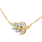 14k Yellow Gold Leaf Design Diamond Pendant - Aatlo Jewelry Gallery