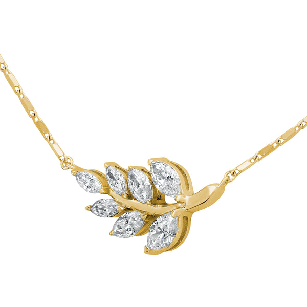 Diamond Pendant in Yellow Gold Leaf Designs
