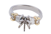 Platinum and 18k Yellow Gold Engagment Ring Setting - Aatlo Jewelry Gallery