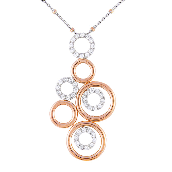 14k Rose And White Gold Diamond Statement Pendant