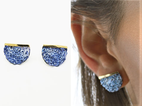 Blue Enamel Sterling Silver Earrings Pedrera Collection - Aatlo Jewelry Gallery