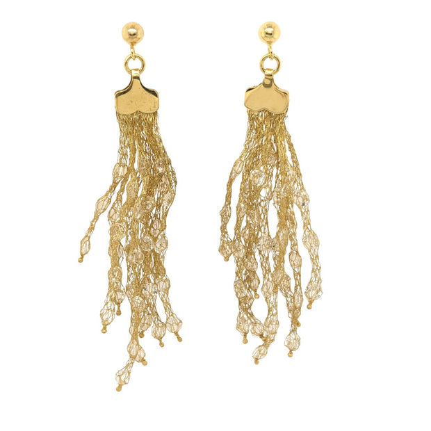 Peter Storm Julia Yellow Gold and Clear Quartz Drop Earrings - Aatlo Jewelry Gallery