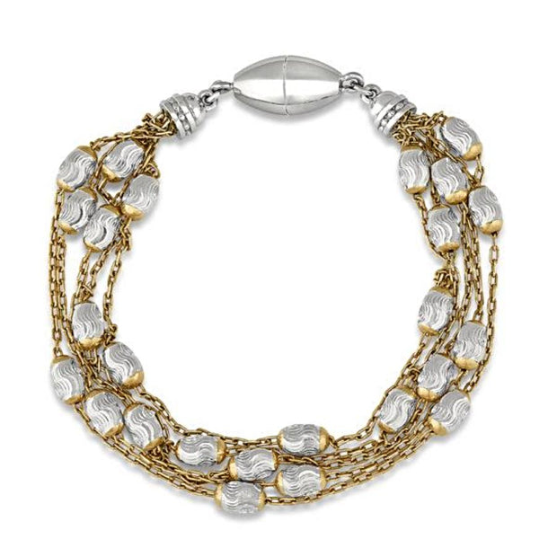 Peter Storm Yellow Gold and Silver Multi Strand Faceted Bead Bracelet - Aatlo Jewelry Gallery