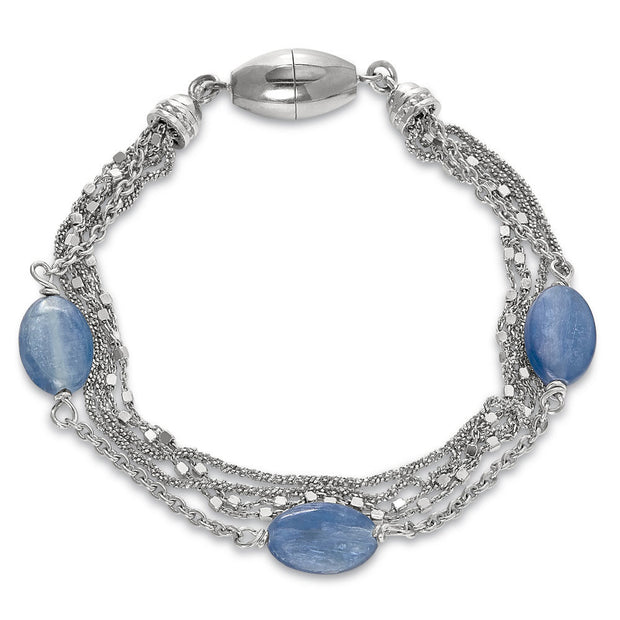 Peter Storm Sterling Silver Multi Strand Blue Kyanite Bracelet - Aatlo Jewelry Gallery