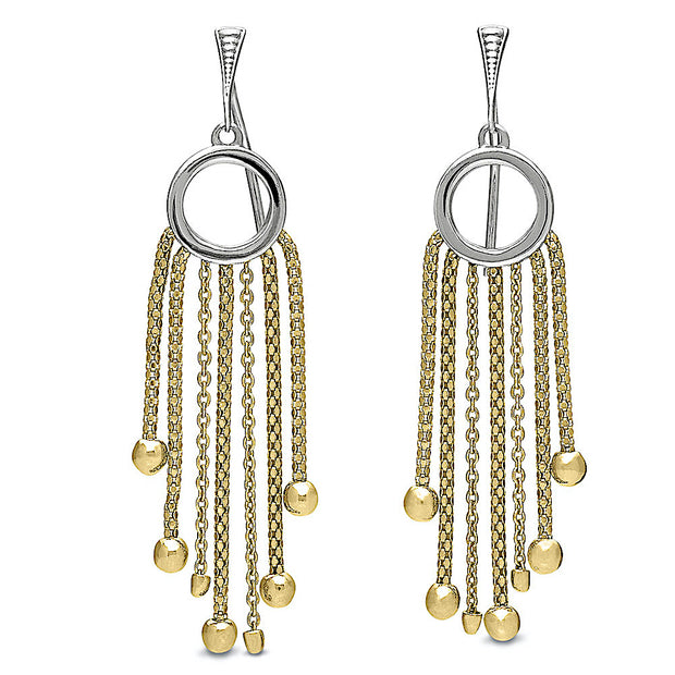 Peter Storm Lustro Sterling Silver and Yellow Gold Chain Drop Earrings - Aatlo Jewelry Gallery