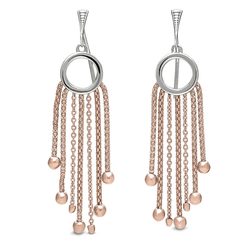 Peter Storm Lustro Sterling Silver and Rose Gold Chain Drop Earrings - Aatlo Jewelry Gallery