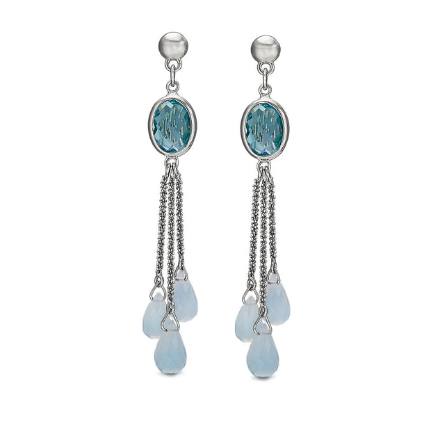 Peter Storm Blue Topaz and Blue Chalcedony Silver Drop Earrings - Aatlo Jewelry Gallery