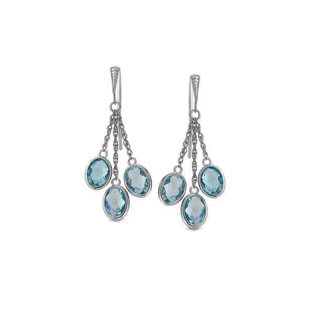 Peter Storm Blue Topaz with Silver Chain Drop Earrings - Aatlo Jewelry Gallery