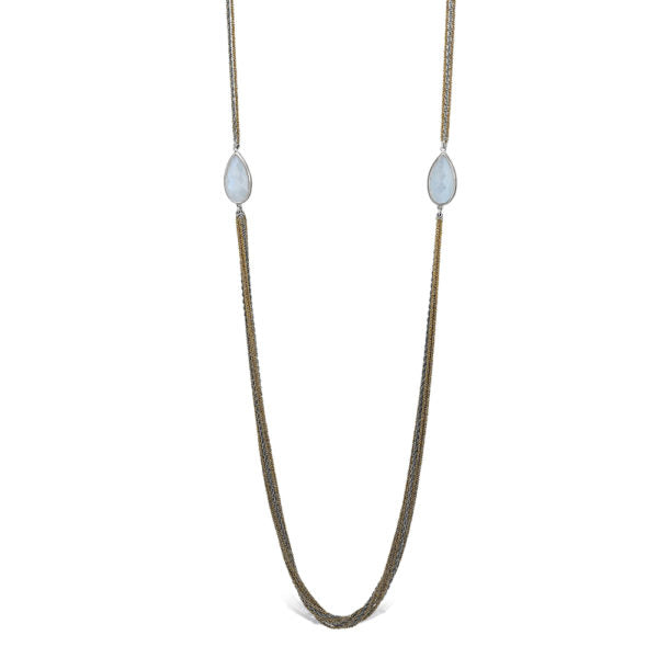 Peter Storm Moonstone Silver And Yellow Strand Necklace - Aatlo Jewelry Gallery