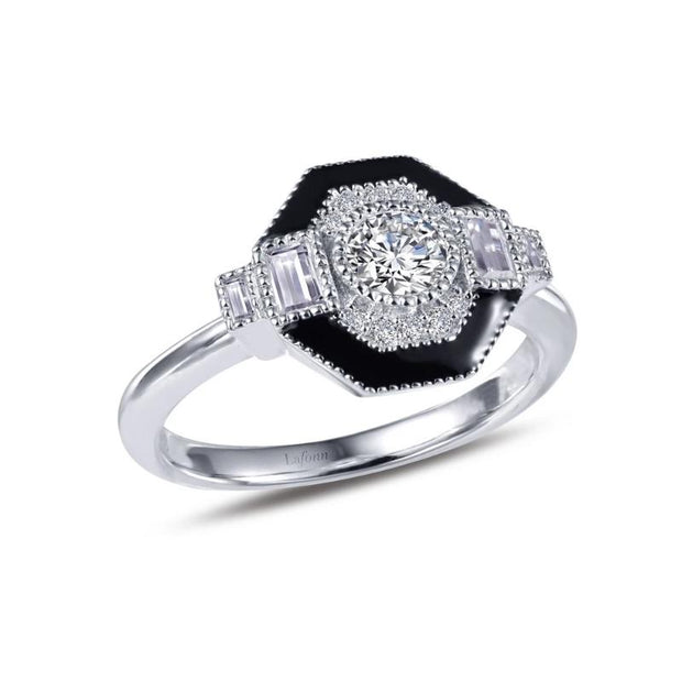 Lafonn Heritage Collection Diamond and Black Enameled Ring - Aatlo Jewelry Gallery