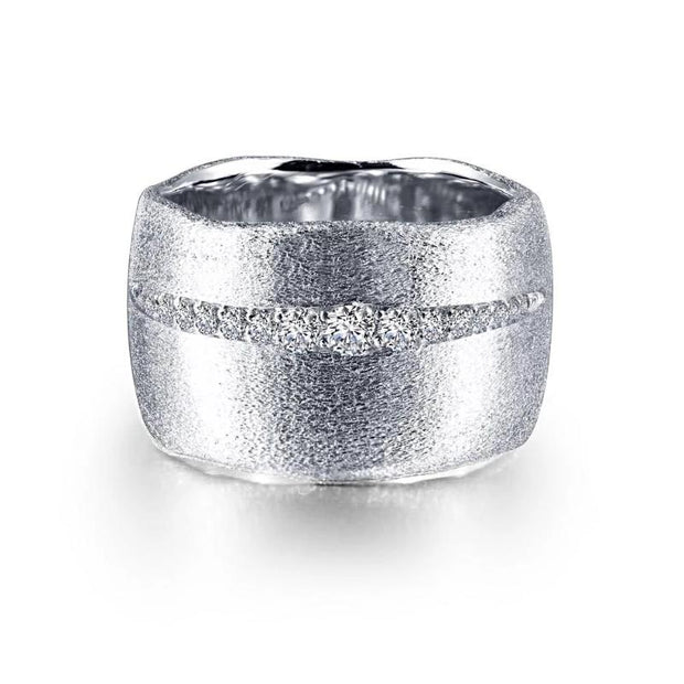Lafonn Classic Collection Wide Band Lassaire Diamond Cuff Ring - Aatlo Jewelry Gallery