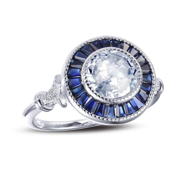 Lafonn Art Deco Inspired Diamond and Blue Sapphire Ring - Aatlo Jewelry Gallery