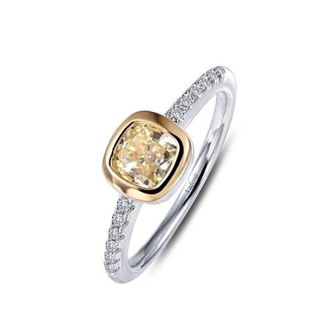 Lafonn Stackable Collection Lassaire Canary and White Diamond Ring