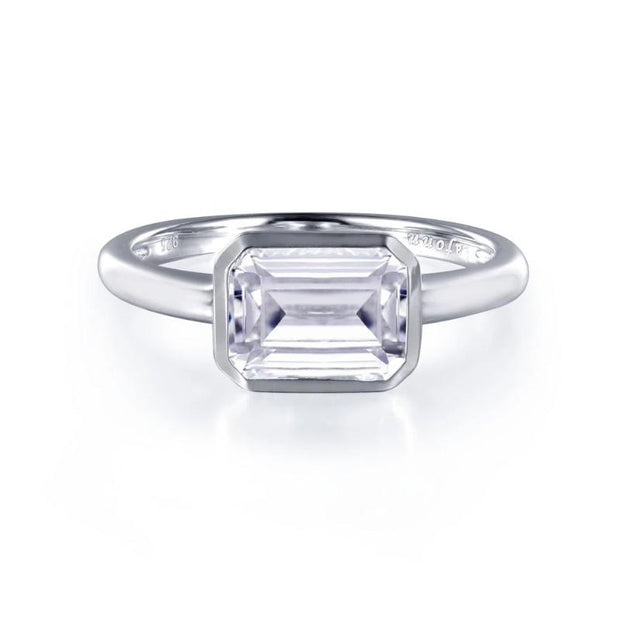Lafonn Classic Collection Emerald Cut Solitaire Diamond Ring - Aatlo Jewelry Gallery