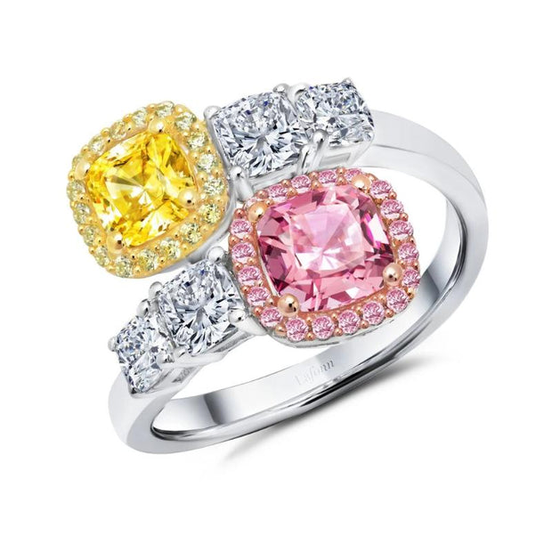 Lafonn Classic Pink, Canary Yellow and White Diamond Bypass Ring - Aatlo Jewelry Gallery