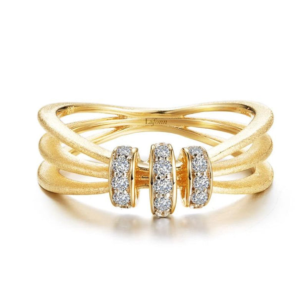 Lafonn Classic 3 Band Brushed Gold Diamond Ring - Aatlo Jewelry Gallery