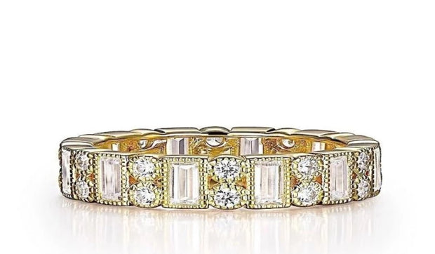 Lafonn Classic Round And Baguette Lassaire Diamond Eternity Ring - Aatlo Jewelry Gallery