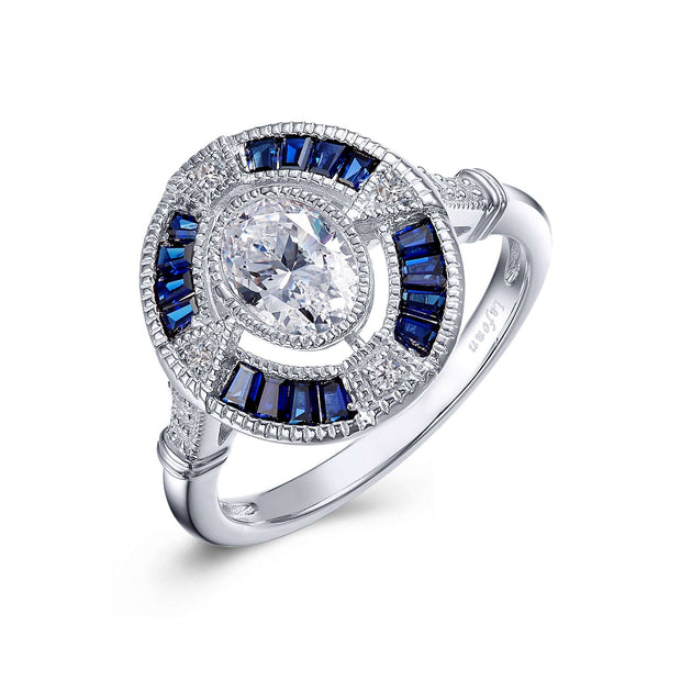 Lafonn Vintage Style Diamond and Blue Sapphire Engagement Ring