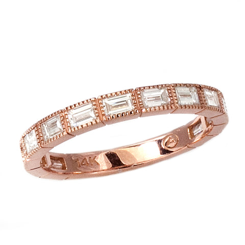14k Rose Gold Diamond Baguette Stacking Ring - Aatlo Jewelry Gallery