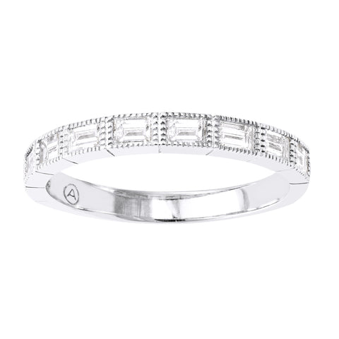 14k White Gold Diamond Baguette Stacking Ring - Aatlo Jewelry Gallery