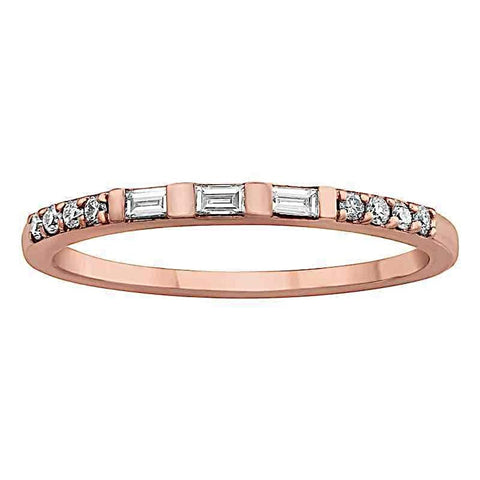 Rose Gold Baguette and Round Diamonds Ring