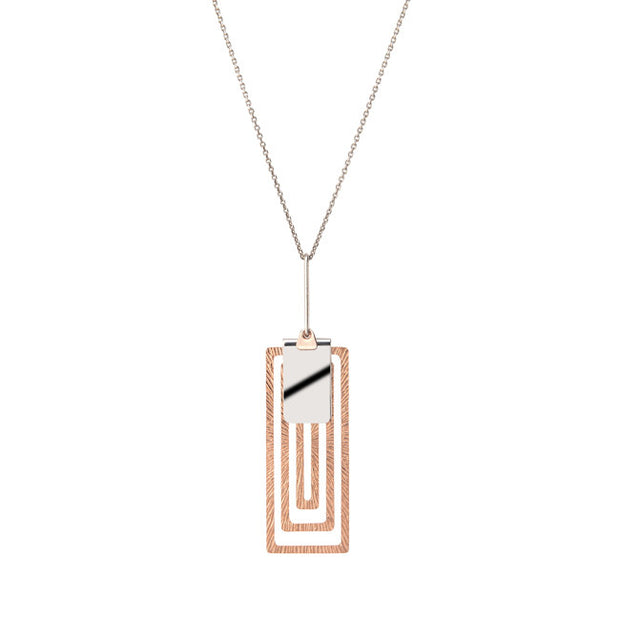 Sterling Silver and Rose Gold Maze Pendant By Frederic Duclos - Aatlo Jewelry Gallery