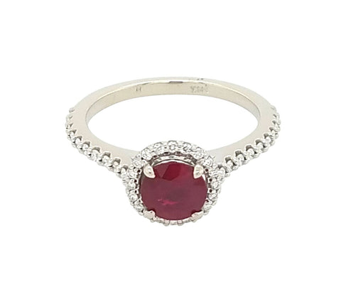 14k White Gold Burmese Ruby and Diamond Ring - Aatlo Jewelry Gallery