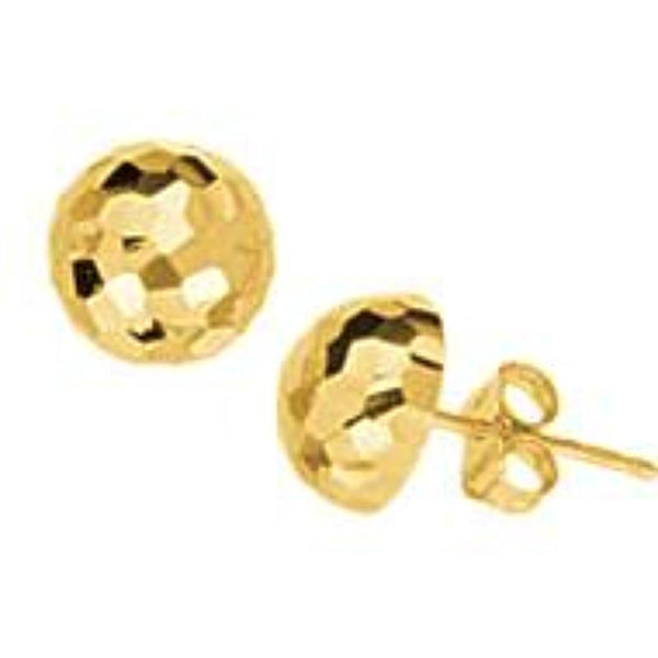 14k yellow gold Diamond Cut Gold Stud Earrings