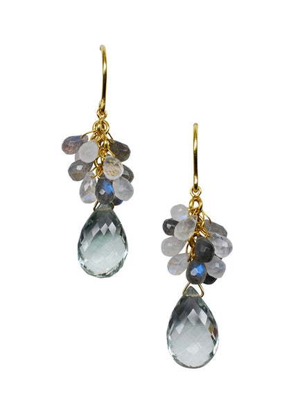 14k Gold Moonstone,  Labradorite, and Green Amethyst Earrings