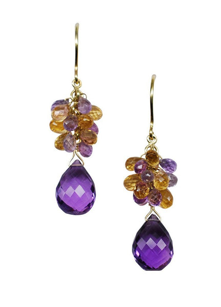 14k Gold Large Amethyst & Citrine Earrings