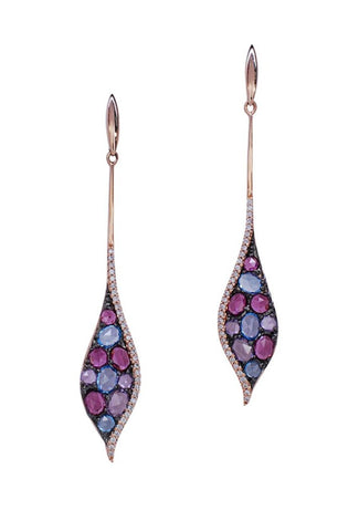 14k Rose Gold Amethyst, Blue Topaz, & Diamond Earrings - Aatlo Jewelry Gallery