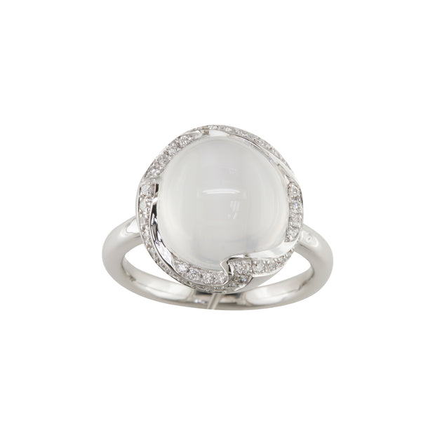 18k White Gold Moonstone And Diamond Ring - Handmade From Italy - Aatlo Jewelry Gallery