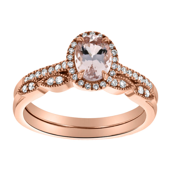 14k Rose Gold Morganite And Diamond RIng With Matching Diamond Band