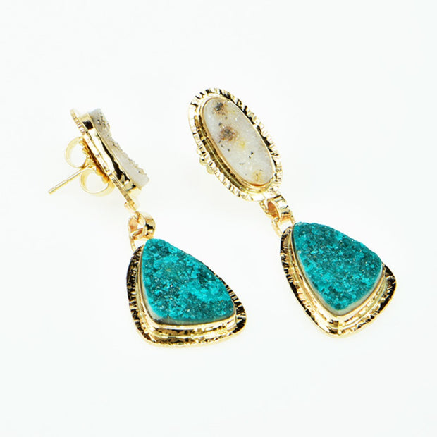 Michael Baksa 14k Yellow Gold Chrome Dioptase And White Druzy Earrings - Aatlo Jewelry Gallery